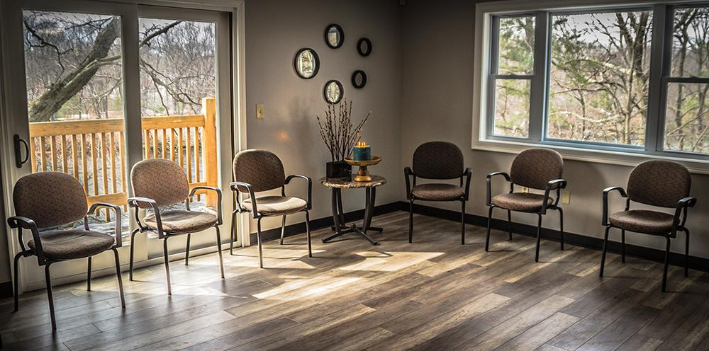 group therapy room for substance abuse treatment